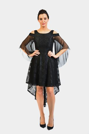 Midi Asymmetric Skater Flare Tulle Bell Sleeve Dress