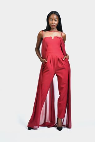chiffon back cape jumpsuit