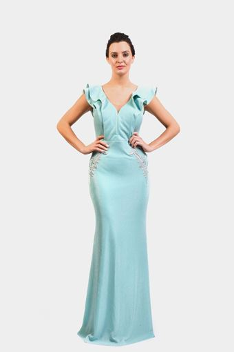 Cascade flare fishtail lurex Dress