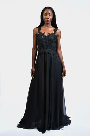 lace top chiffon 2 in 1 maxi dress