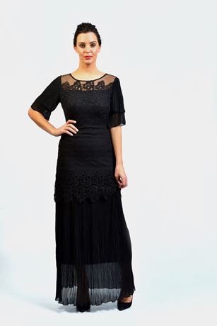 Lace and Chiffon tiered Pleated dress,pleated layered sleeve