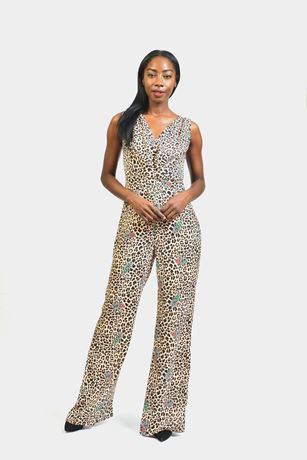 Sleeveless Leopard Flower Print Jumpsuit