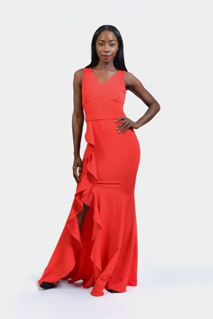 V-neck Cascade Slit Dress