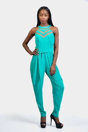 Tapered Illusion Cutout Jumpsuit