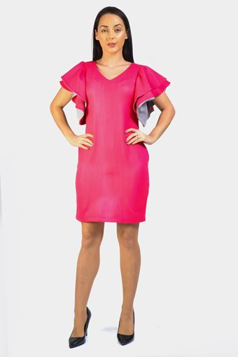Flare Layered Sleeve Shift Dress