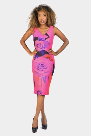 pink floral placed midi dress