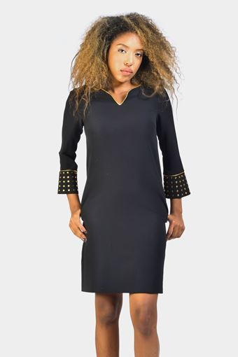 V-Neck Studded Long Sleeve Dress