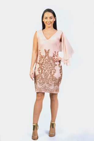 SHOULDER CAPE PLACED SEQUIN DRESS