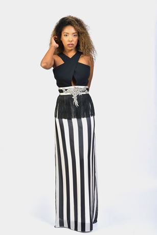 Criss Cross High Neck CutOut Waist Maxi Dress