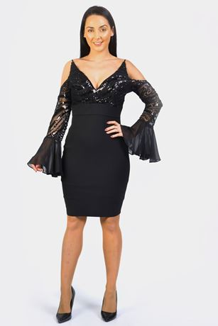 sequin top 2 in 1 plunge cold shoulder dress
