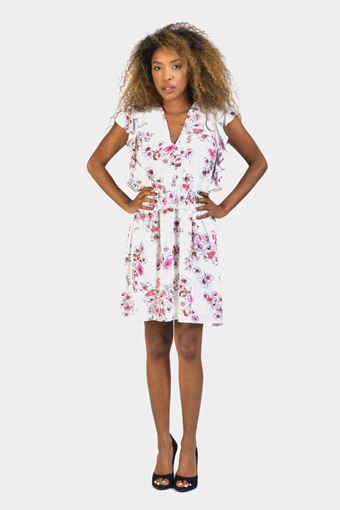 White floral side frill tea dress