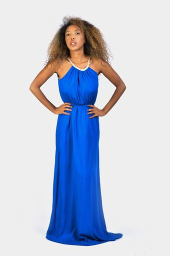 Racer neck maxi dress