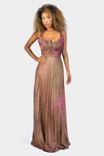IRIDESCENT SHIMMER SPAGHETTI STRAP DRESS