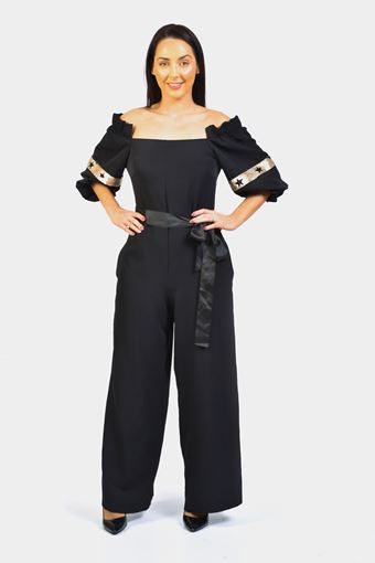 OFF THE SHOULDER SLEEVE DETAIL JUMPSUIT