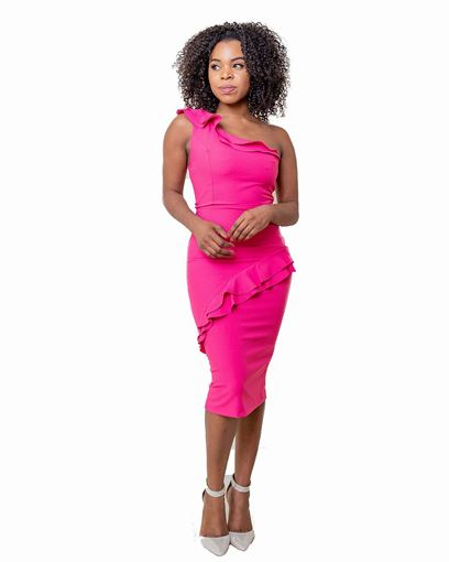 one shoulder ruffle front midi dress