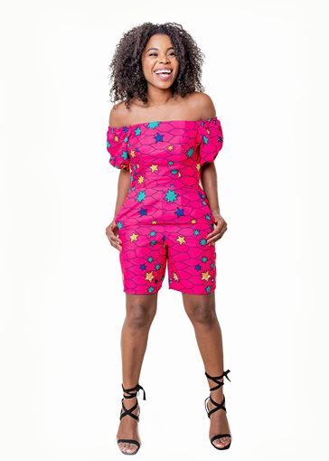Multi-Star African print Playsuit
