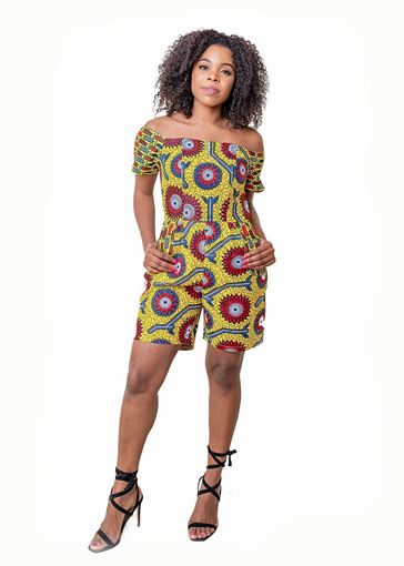 Off The Shoulder Multi African Print Playsuit