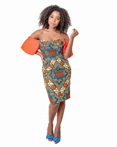 Orange Flared Sleeve Off the Shoulder Pencil Dress